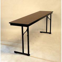 "Maywood Furniture Rectangular Folding Table Table Top Finish: Pewter Brush, Frame Finish: Silver, Size: 29"" H x 18"" W x 96"" D"