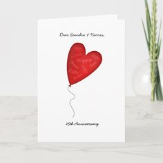 """Heart Love Balloon 25th or Any Custom Anniversary Card Size: ' ', 5"""" x 7"""". Color: Matte. Gender: unisex. Age Group: adult. Homemade Anniversary Cards, Anniversary Card For Parents, Anniversary Party Invitations, Anniversary Greeting Cards, Anniversary Gifts For Couples, Happy Anniversary, Anniversary Decorations, Anniversary Ideas, Wedding Anniversary"""