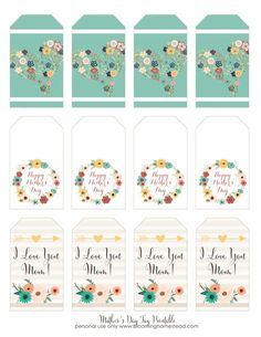 Beautiful Mother's Day Gift Tag printable, free for download.