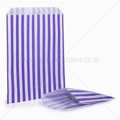 Papiertüten lila-weiß gestreift