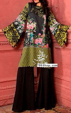 Olive/Black Lawn Kurti | Buy Alkaram Pakistani Dresses and Clothing online in USA, UK