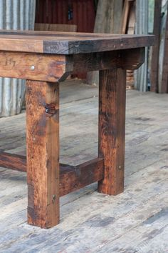 Rustic Industrial Vintage Style Timber Work Bench or Desk Kitchen Island Table Rustic Table, Farmhouse Table, Rustic Kitchen, Wood Table, Rustic Wood, Rustic Outdoor, Timber Kitchen, Kitchen Tile, Table Legs
