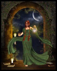 Keeper of the Sacred Flame (Brighid) by Averil White (Everild-Wolfden on DeviantArt) Celtic Goddess, Celtic Mythology, Goddess Art, Green Goddess, St Bridget, Pagan Art, Sabbats, Divine Feminine, Divine Grace