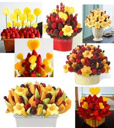 Arreglos de fruta y chocolate :: TODO DE CHOCOLATE Fruit Sticks, Food On Sticks, Fruit Decorations, Food Decoration, Fruit Presentation, Edible Fruit Arrangements, Buffet, Fruit Creations, Food Art