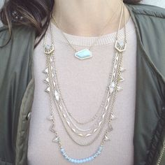 Here is an example of today's #StyleTipTuesday : Mixing different shapes. The shorter necklace is one of the components of our Sand + Sky convertible necklace.  The #chloeandisabel styling team paired this with our brand new #Portico multi-row necklace.  So many different shapes in this look, but still cohesive and GORGEOUS!!