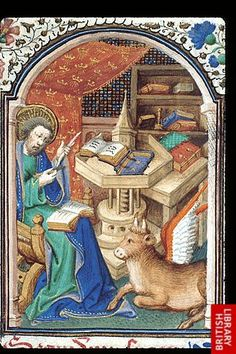 Luke seated at a table and mending his quill pen, with his symbol, the winged ox, by his side, at the beginning of his Gospel.
