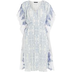 KAS New York Malaga Embroidered Kaftan ($220) ❤ liked on Polyvore featuring tops, tunics, dresses, white, embroidered tunic, v neck top, caftan tunic, ruched tunic and white embroidered top
