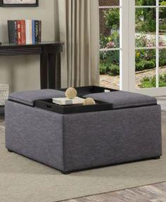 simpli home avalon fabric coffee table storage ottoman direct ship macys com - Macys Coffee Table