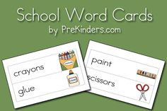 School Picture-Word Cards  I copy, cut, laminate, punch and slip onto a ring. The children love copying their word-rings!