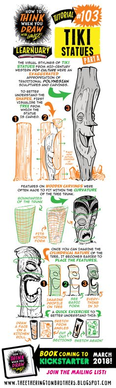 The Etherington Brothers: How to THINK when you draw TIKI STATUES tutorial #LEARNUARY day FIVE