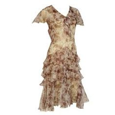 1920s Floral Print Silk Chiffon Flutter Tea Dress