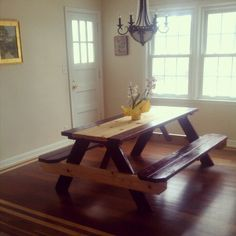 Superb $80 Picnic Table From Lowes + Two Different Color Finishes U003d Gorgeous Dining  Room Table!