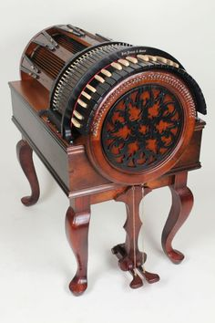 The wheelharp is a fairly new musical instrument that produces the rich sounds of stringed instruments. A keyboard controls 61 bowed strings, so one musician can sound like an orchestra- or at least the string section. The wheelharp was inspired by the hurdy-gurdy, and comes in two models: the radial model you see here, and one with a more conventional flat keyboard attached to the wheel