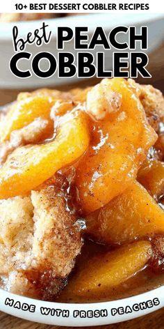 Fresh Peach Cobbler, Homemade Peach Cobbler, Fruit Cobbler, Peach Cobbler Cake, Super Easy Peach Cobbler Recipe, Peach Cobbler Recipes, Southern Peach Cobbler, Köstliche Desserts, Delicious Desserts