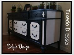 Tuxedo Dresser: I used Paint Couture baltic Black and Arctic White with Lacquer Couture Satin.