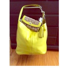 Neon Yellow Coach handbag Sale $160!! Authentic Coach bag, large in size and beautiful bright color. Soft leather. No flaws. Wallet not included. Comes with dust bag. NWOT Coach Bags Shoulder Bags