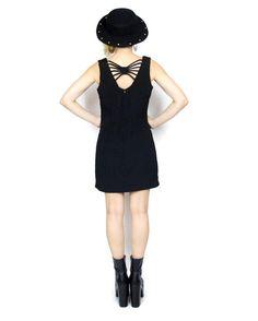 90s Black Cut Out Back Dress Strappy Goth Sheath by honeymoonmuse, $34.00