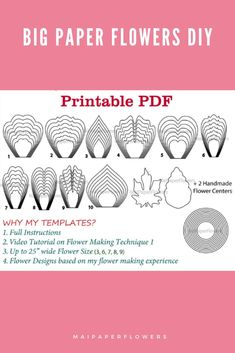 This paper flower printable template combo is to make large paper flowers with Printer. This set includes templates, instructions and video tutorial at affordable cost. #paperflowerprintable #paperflowerprintabletemplate #paperflowertemplate #largepaperflowers #paperflowerdiy #paperrflowersmaking #paperflowerscraft Large Paper Flower Template, Flower Petal Template, Paper Flower Tutorial, Big Paper Flowers, Paper Flower Backdrop, Templates Printable Free, Printable Paper, Flower Words, Flower Center