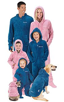 Note the *WHOLE* family... including the dog and cat...;)  Hoodie-Footie™ - Blue for the Whole Family | PajamaGram