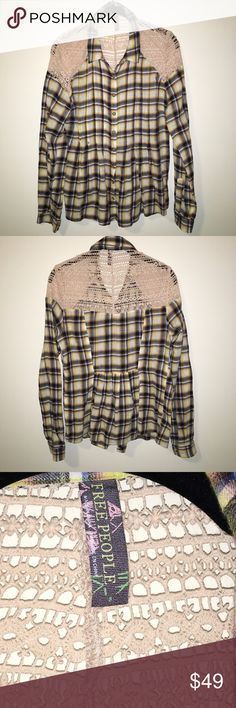 FREE PEOPLE Yellow Plaid Crochet Button Down Shirt Free People yellow and blue toned Plaid shirt with a fitted like detail along the waist- crochet at the top half in a cream color and is button down style! Not lined and is super soft cotton! Size small and in good condition!! Free People Tops Button Down Shirts