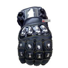 Amazon.com: EXCALIBUR BLACK LEATHER CARBON & STEEL ARMOR MOTORCYCLE GLOVES SIZE L: Clothing