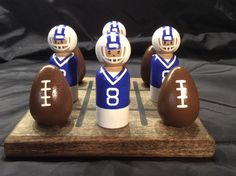 FOOTBALL Tic-Tac-Toe Set cobalt blue & white by WOODuPlayGames