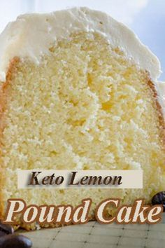I am in love with this Low Carb Lemon Pound Cake Keto Friendly Recipe! Seriously, it's hard to tell it's low carb when you compare it to the regular flour based pound cake recipes. Rich and buttery! Food Cakes, Low Carb Desserts, Low Carb Recipes, Low Carb Sweets, Diabetic Dessert Recipes, Diabetic Muffins, Delicious Desserts, Frozen Desserts, Easy Recipes