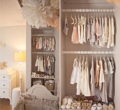 Elegant girls nursery - beautiful colour palette. (Peach and pink girl nursery open closet allows all the cute clothes to be seen)