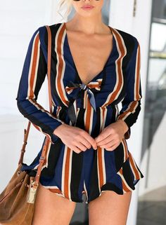 Bow Tie V Neck Stripped Jumpsuit