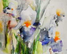 Original art for sale at UGallery.com | Blue Irises by Karin Johannesson | watercolor painting | 15' h x 12' w