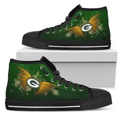 Angel Wings Green Bay Packers High Top Shoes Go Pack Go, Aaron Rodgers, Green Bay Packers, Angel Wings, Top Shoes, Cool Gifts, Green And Gold, Converse Chuck Taylor, High Top Sneakers