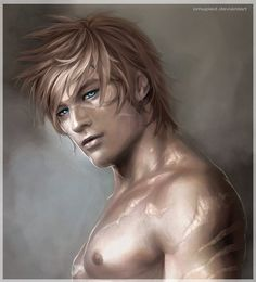Reto by ~omupied on deviantART, drawn, cute guy, scars, blue eyes, blonde hair..and again CALEB.