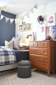Kids Space. Sources for rugs, bedding, using what you have and things your kids collect- Boys Collected Bedroom - Nesting With Grace