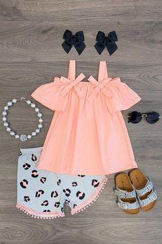 Coral & Gray Leopard Short Set Coral & Gray Leopard Short Set - Sparkle In Pink Dresses Kids Girl, Little Girl Outfits, Kids Outfits Girls, Cute Outfits For Kids, Toddler Girl Outfits, Little Girl Fashion, Toddler Fashion, Kids Fashion, Toddler Girls