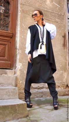 Купить Брюки WOOL - черный, брюки, черные брюки, Женские брюки, штаны с мотней