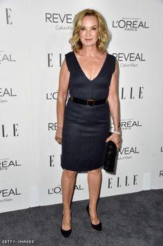 Jessica Lange in a Calvin Klein dress and an LK Bennett pumps