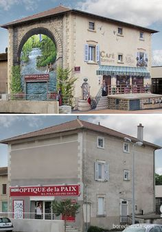 Incredible Before & After Street Art Transformations That'll Make You Say Wow - Café Reynaud, Estrablin, France 3d Street Art, Murals Street Art, Amazing Street Art, Street Art Graffiti, Street Artists, Banksy, Mural Painting, Mural Art, France Cafe