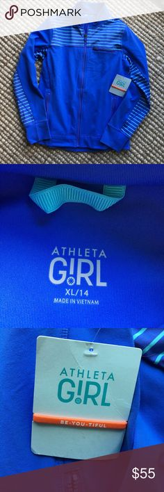 NWT Athleta Girl Game On Jacket, XL/14 New with tags, Athleta Girl Game on Javket, size XL/14, 88% Supplex nylon, 12% Lycra spandex.  Jacket is lighter than the pictures show. Athleta Girl Jackets & Coats