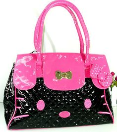 HK |❣| HELLO KITTY Pink and Black Patent Shoulder Bag