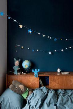 Glow in the dark star garland against a dark blue wall.