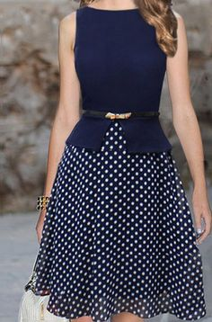 Cute dotted navy dress