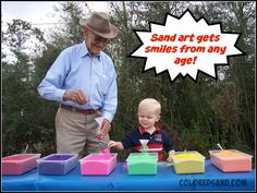 Sand Art Booth | colored sand, sand bottles. Here are some great tips for setting up your own sand art booth. Would be a cute center to have during a party or economics fair day at school.