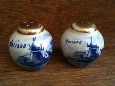 Antique Dutch Blue and White Salt and Pepper Shakers Hand Painted.