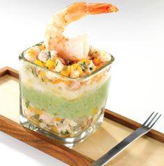 Verrines sushi aux crevettes