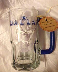 Hand painted Dallas Cowboys beer mug.