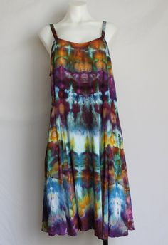 Shibori Rayon Sun dress Summer dress Ice Dyed Clothing -  Na's Favorite stained Glass - Size Large by ASPOONFULOFCOLORS on Etsy