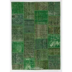 Green Color Patchwork Rug (265 CAD) ❤ liked on Polyvore featuring home, rugs, dark olive, floor & rugs, home & living, low pile area rug, low pile rug, colored rugs, patchwork rug and handmade rugs