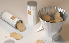 This is the conceptual Bloom Chip potato chip container.  It may look like a regular Pringles can, but when the paper band is removed, oh boy, it BLOOMS into a shape that makes the chips more easily accessible