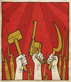 untitled by the-black-cat on DeviantArt Communist Propaganda, Propaganda Art, Arte Peculiar, Revolution Poster, Russian Revolution, Soviet Art, War Comics, Tinta China, Red Army
