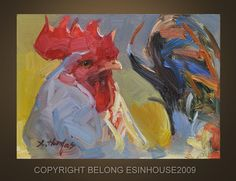 Oil Painting Rooster Art Chicken Hen Barn Cock 5X7 by Deny2011, $30.00
